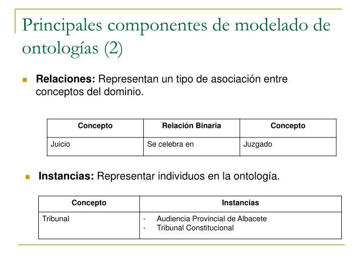 Principales componentes de modelado de ontologías (2)
