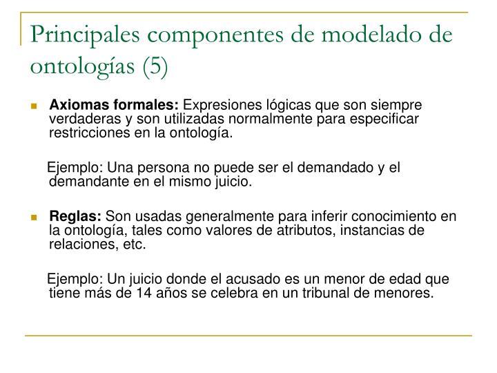 Principales componentes de modelado de ontologías (5)