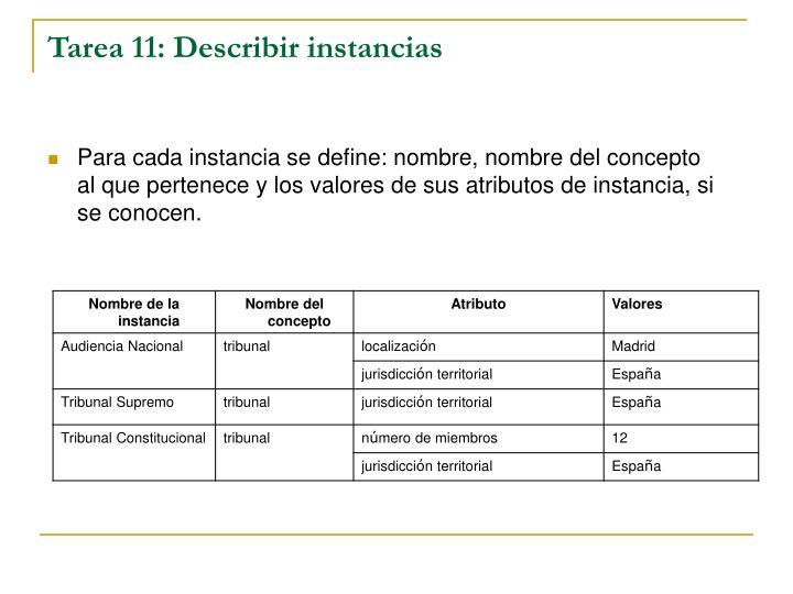 Tarea 11: Describir instancias