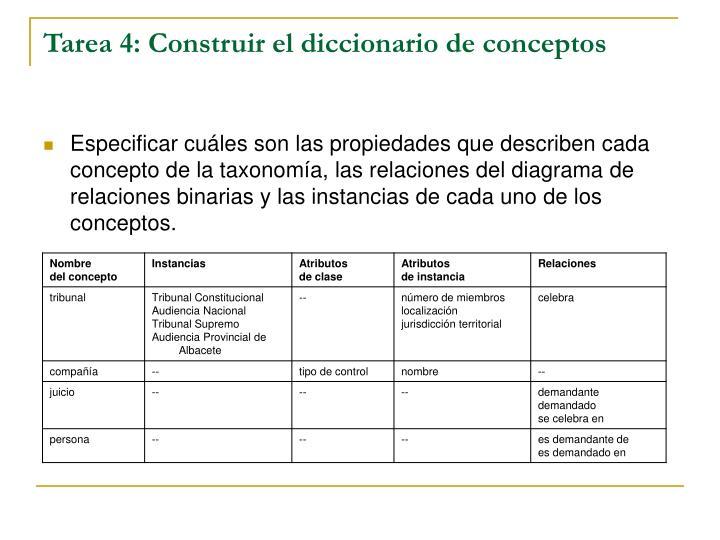 Tarea 4: Construir el diccionario de conceptos