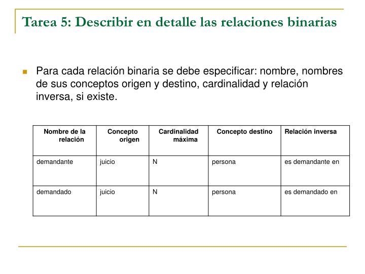 Tarea 5: Describir en detalle las relaciones binarias