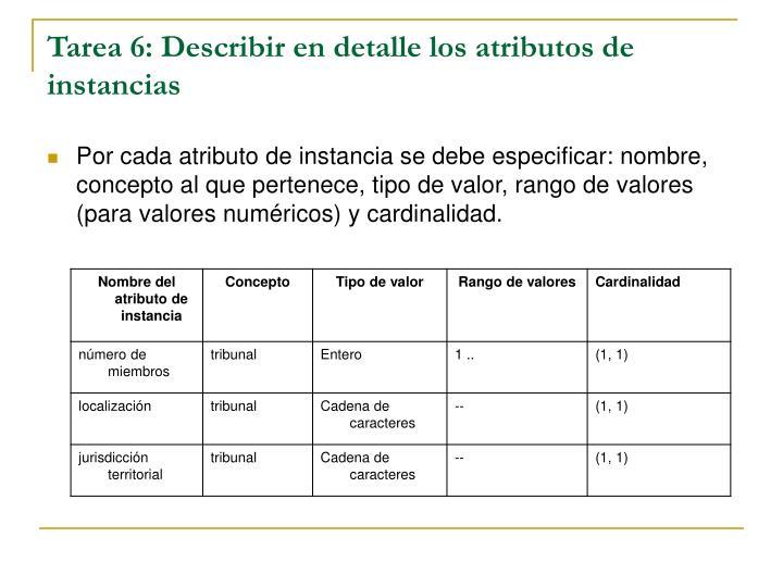 Tarea 6: Describir en detalle los atributos de instancias