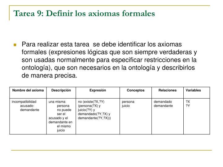 Tarea 9: Definir los axiomas formales