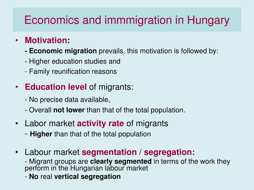 Economics and immmigration in Hungary