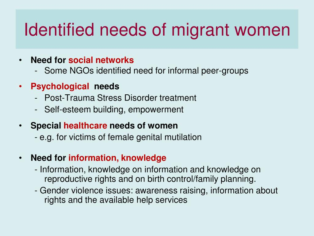 Identified needs of migrant women