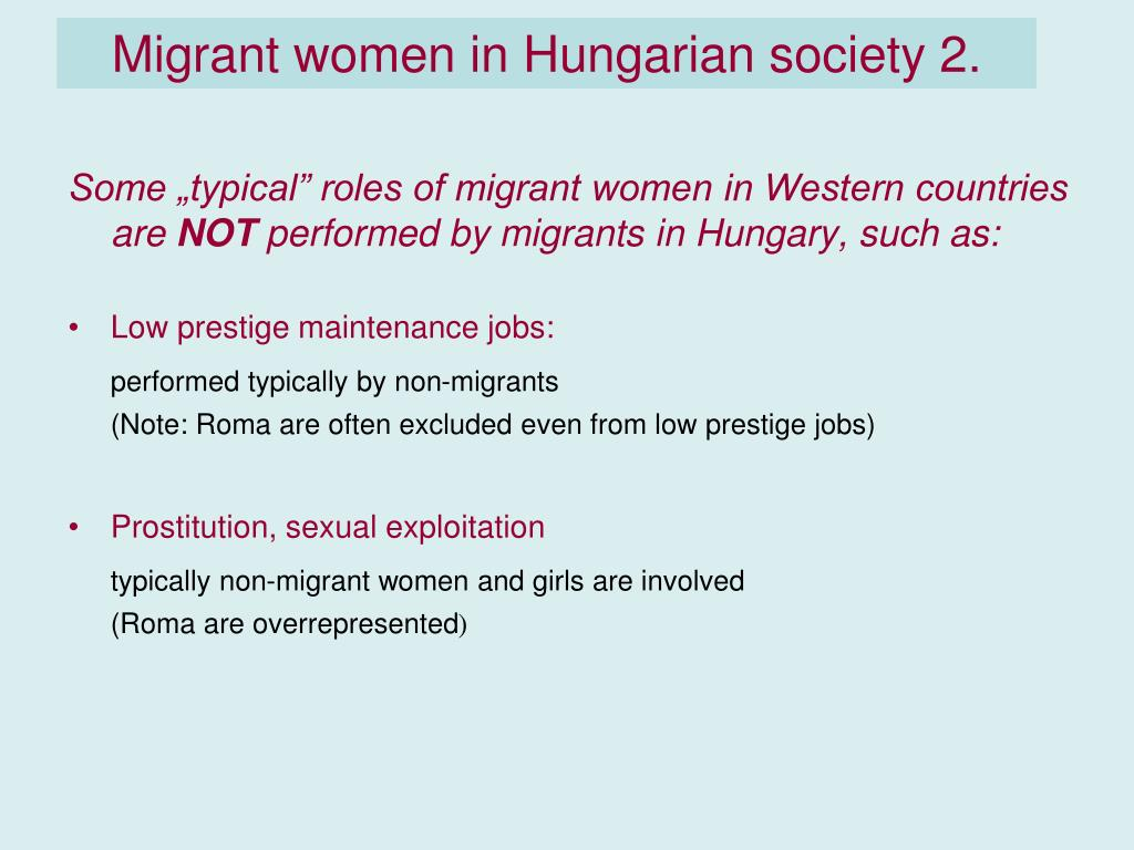 Migrant women in Hungarian society 2.