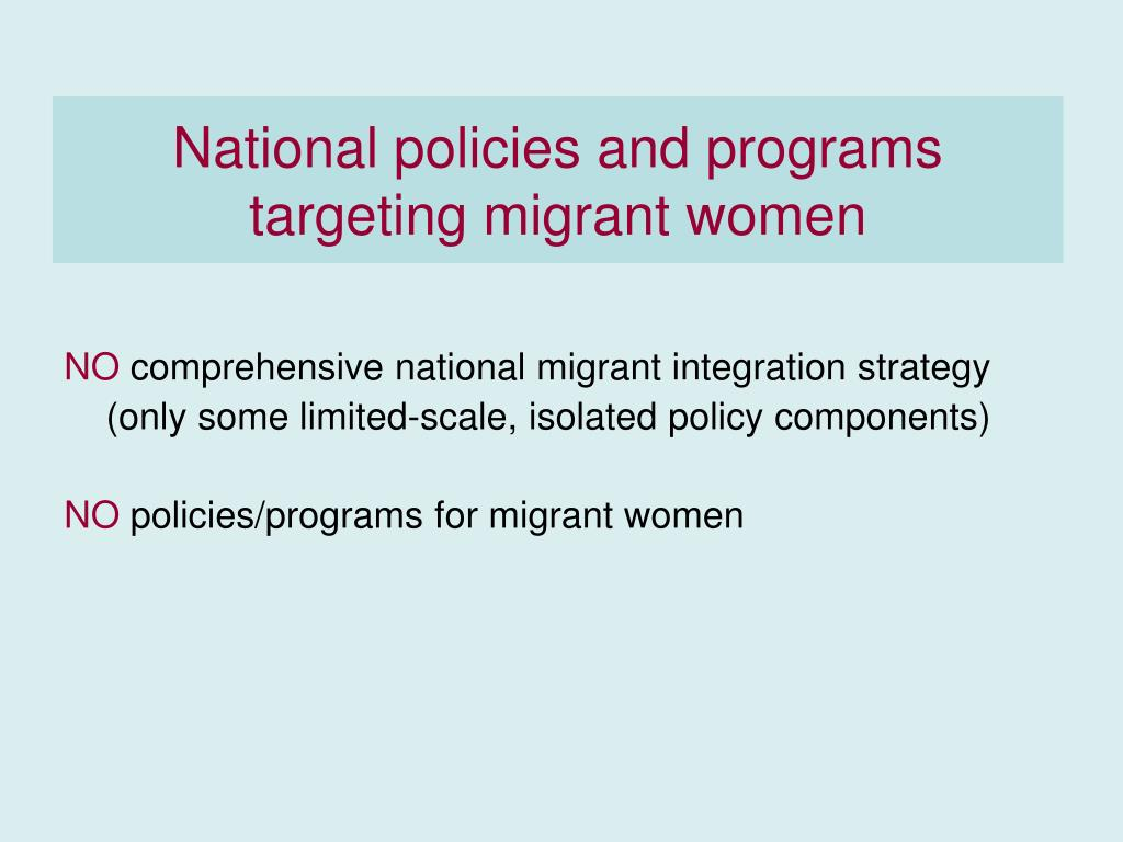 National policies and programs