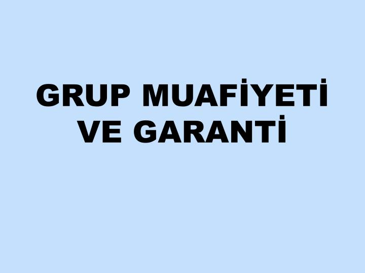 Grup muaf yet ve garant
