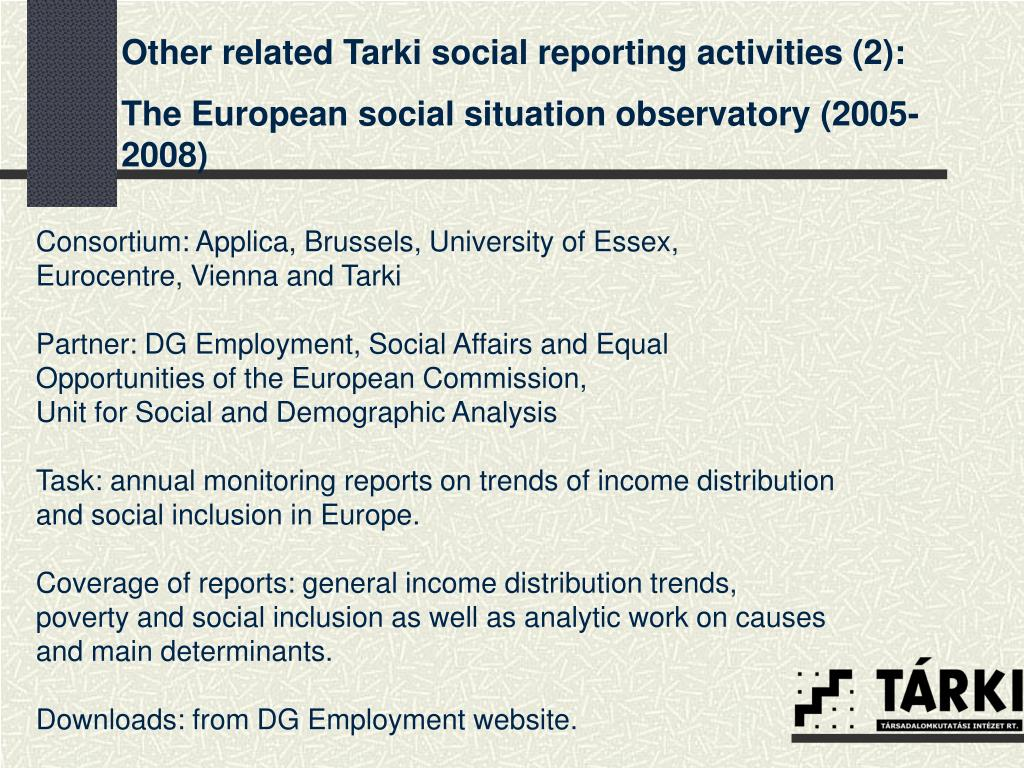 Other related Tarki social reporting activities (2):