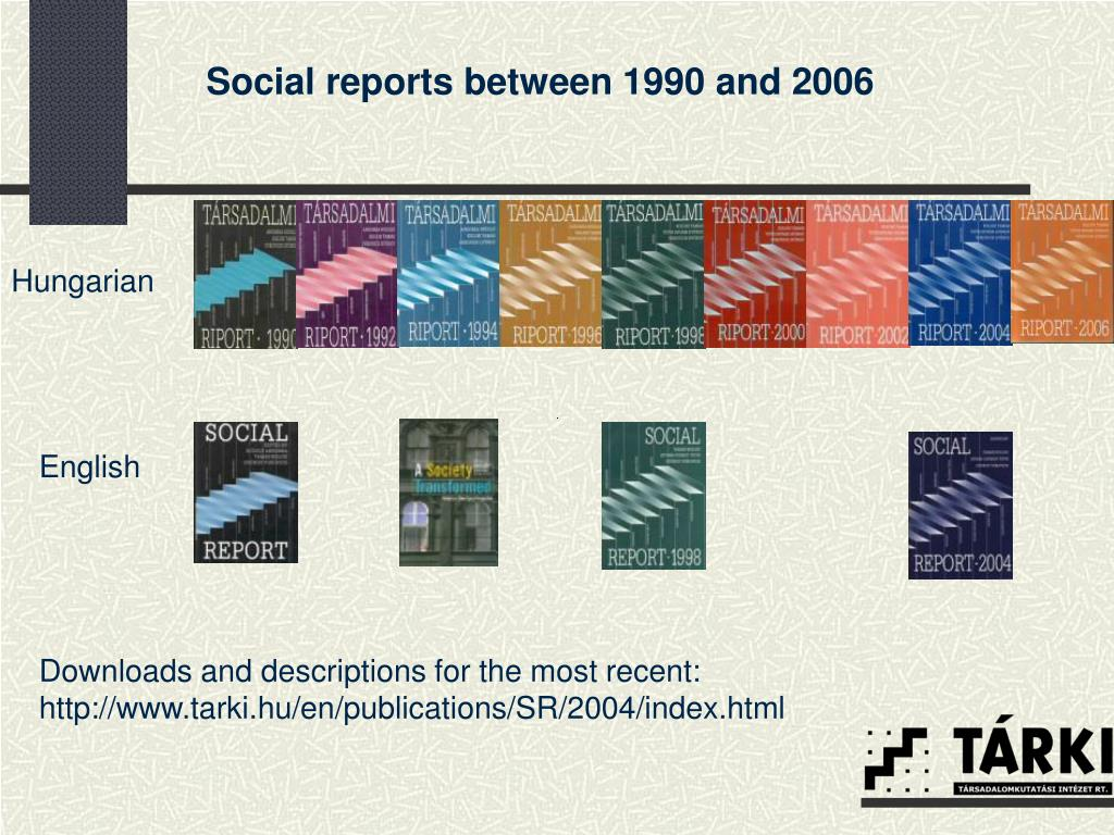Social reports between 1990 and 2006