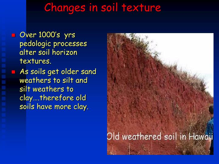Changes in soil texture