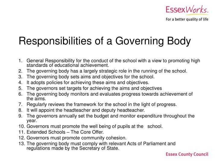 Responsibilities of a governing body