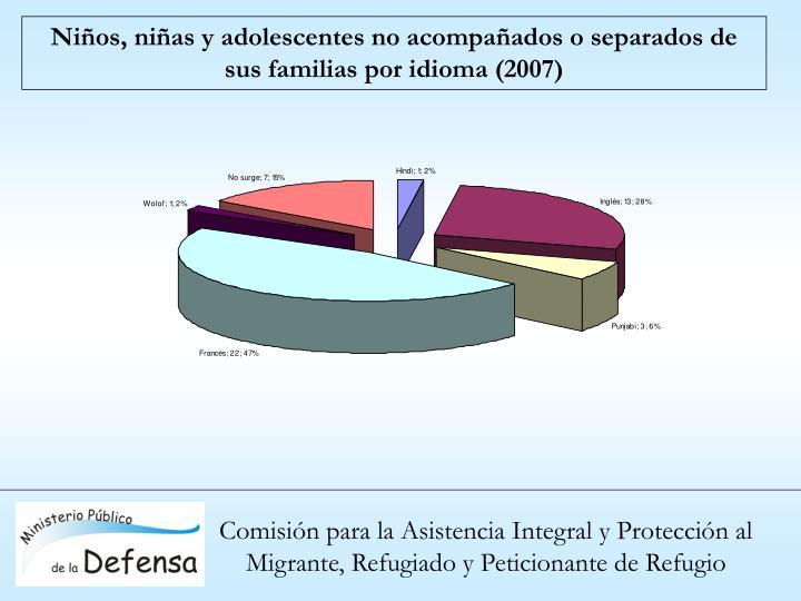 Niños, niñas y adolescentes no acompañados o separados de sus familias por idioma (2007)