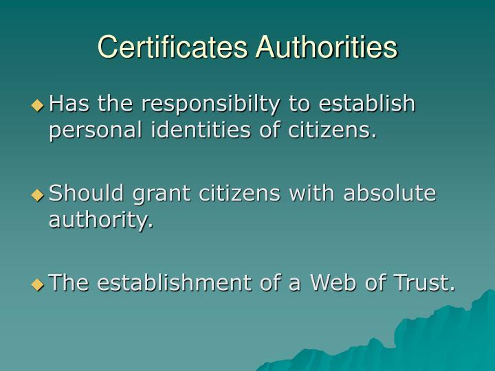 Certificates Authorities