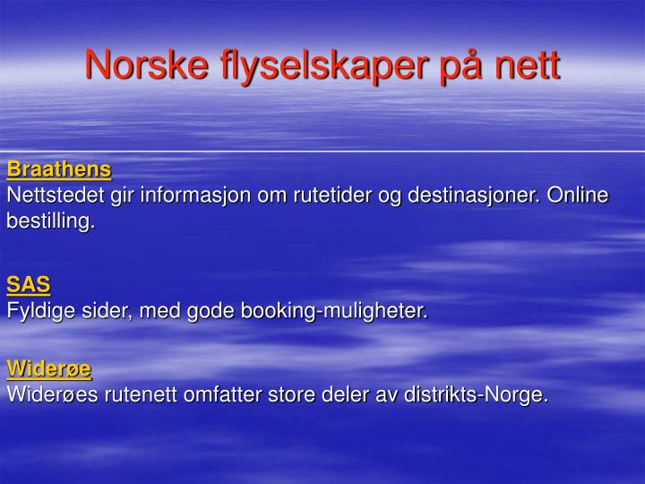 Norske flyselskaper på nett