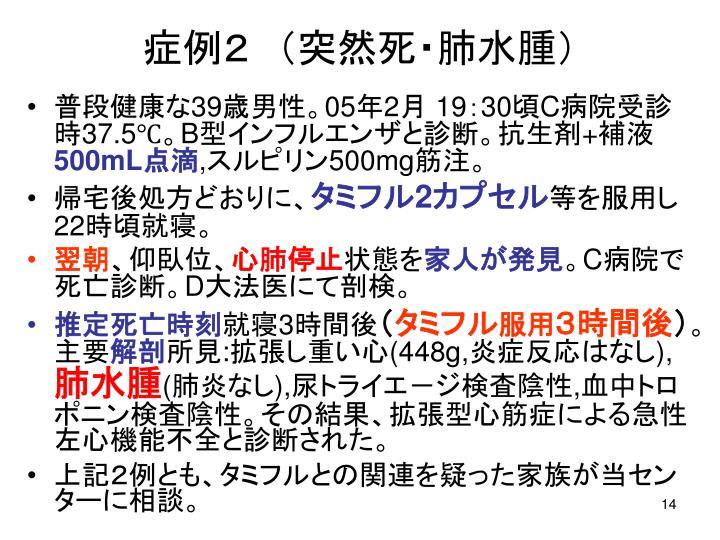 症例2 (突然死・肺水腫)