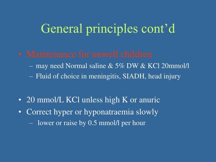 General principles cont'd