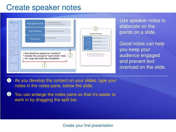 Create speaker notes