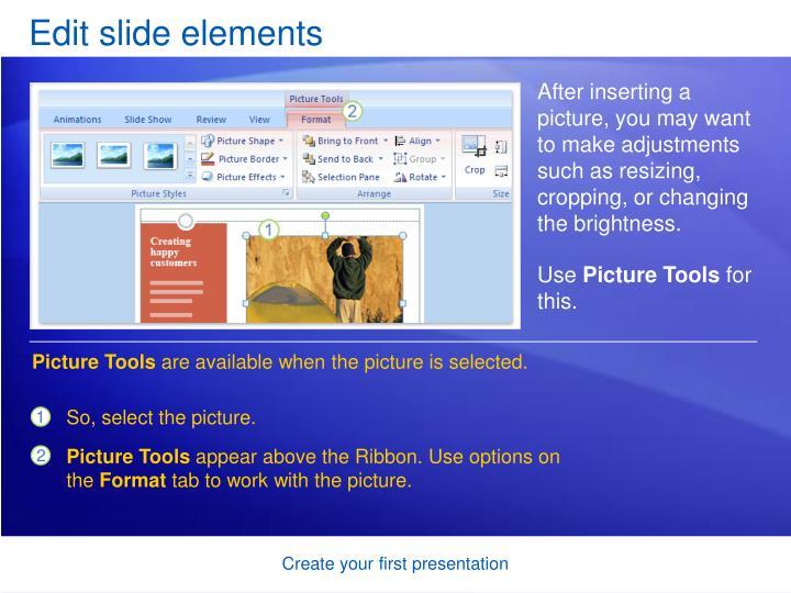 Edit slide elements