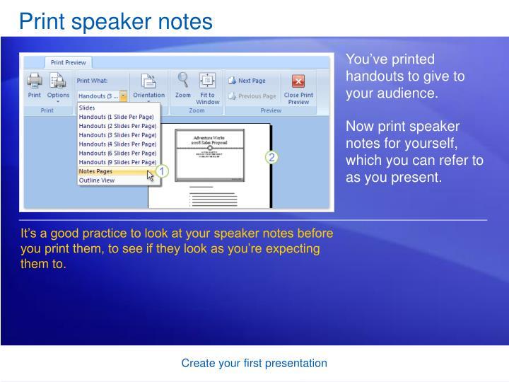 Print speaker notes