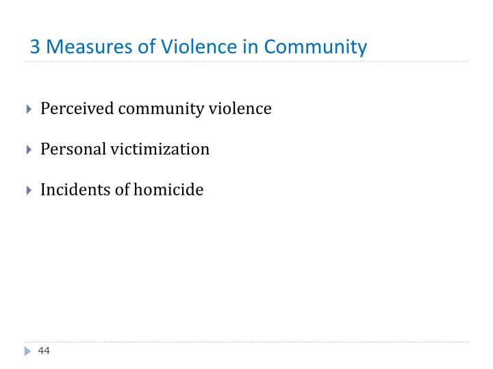 3 Measures of Violence in Community