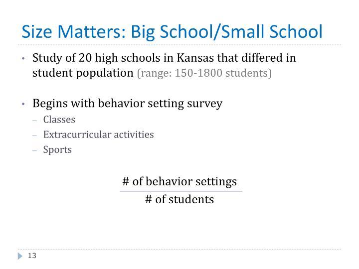 Size Matters: Big School/Small School