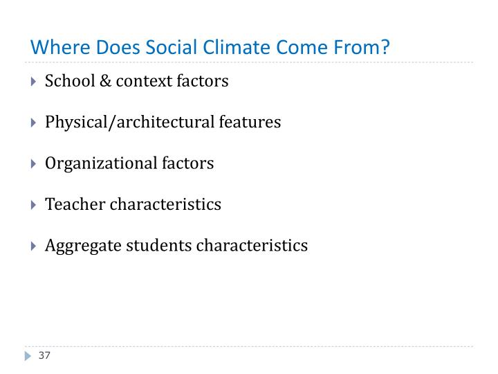Where Does Social Climate Come From?