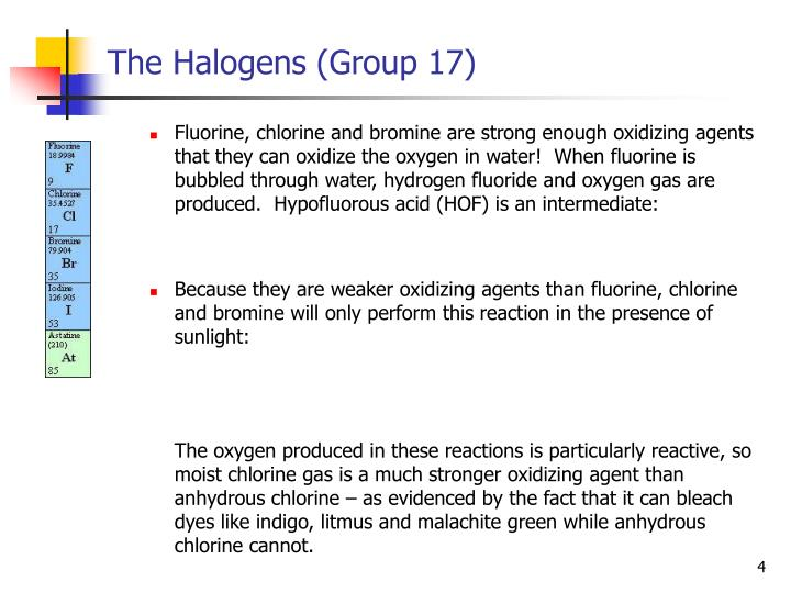 The Halogens (Group 17)