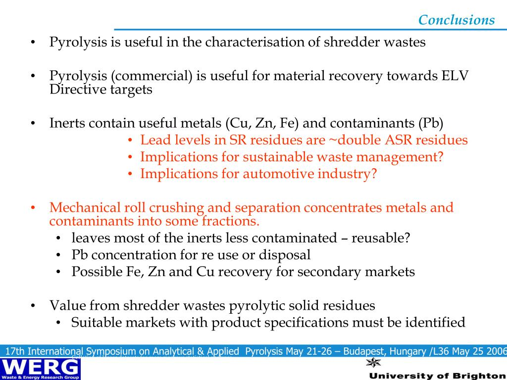 Pyrolysis is useful in the characterisation of shredder wastes