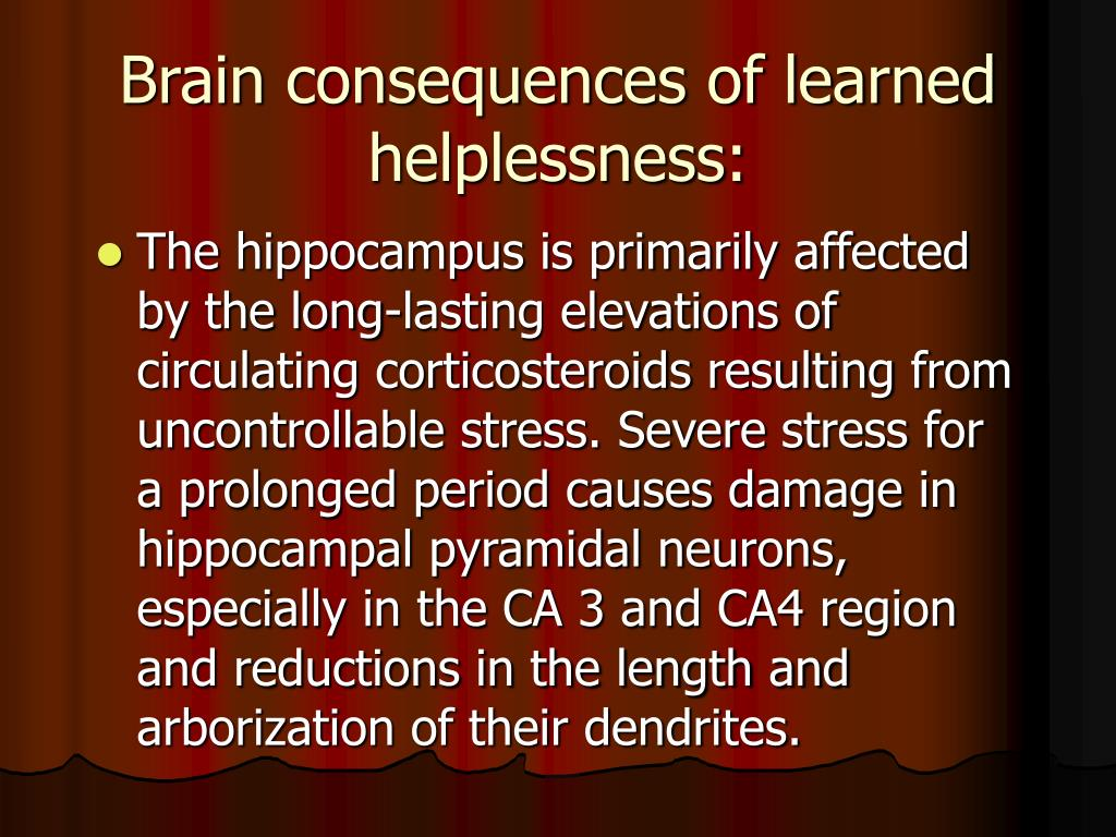 Brain consequences of learned helplessness: