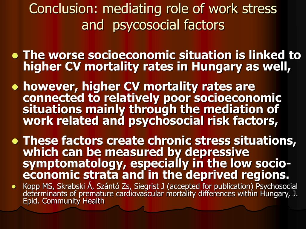 Conclusion: mediating role of work stress and  psycosocial factors