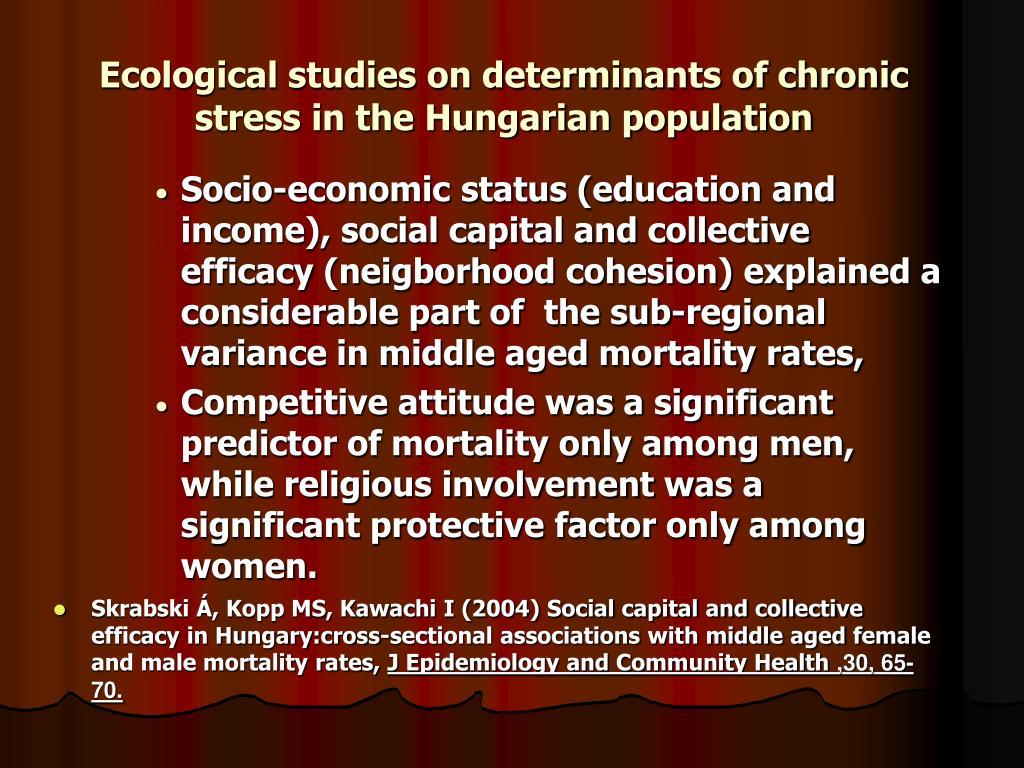 Ecological studies on determinants of chronic stress in the Hungarian population