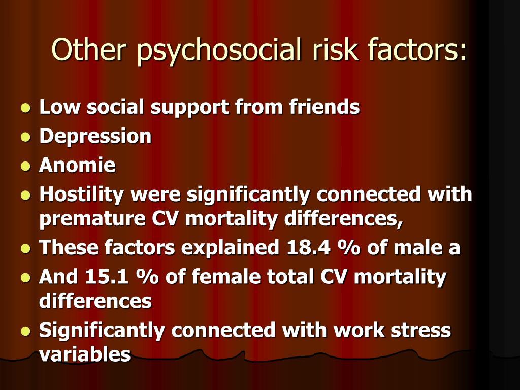 Other psychosocial risk factors: