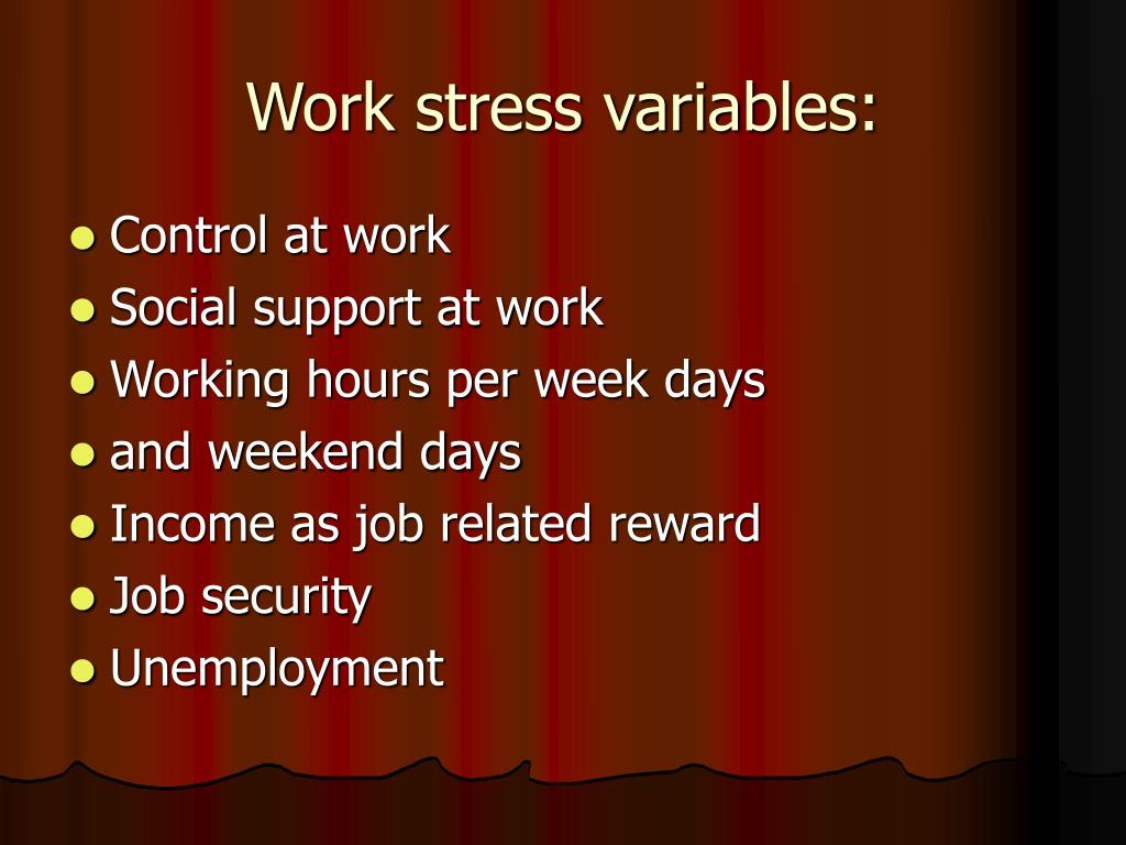 Work stress variables: