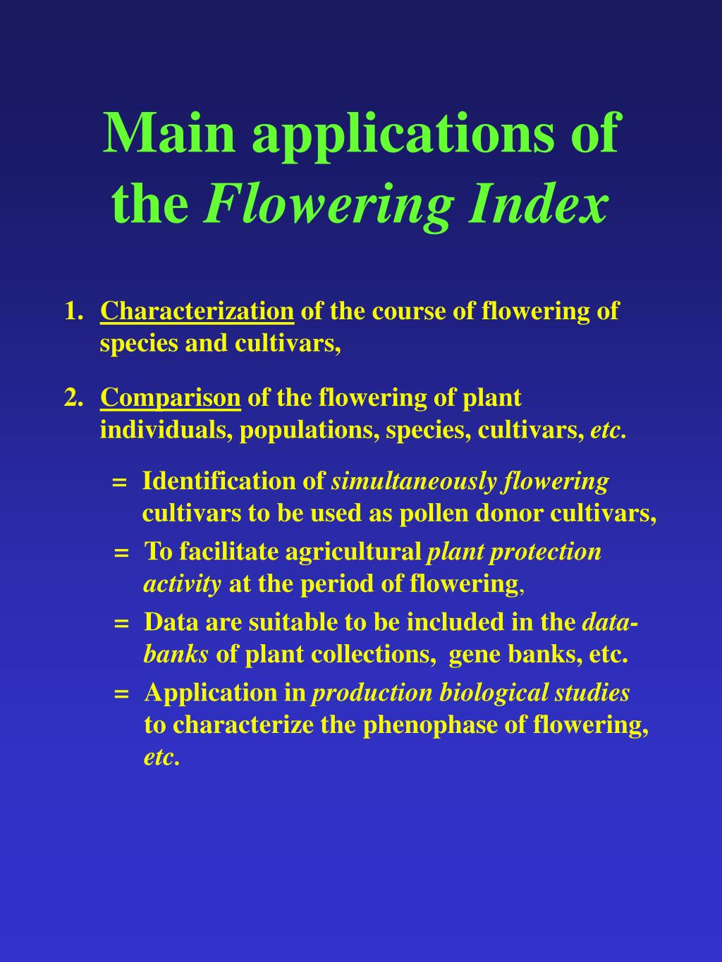Main applications of the