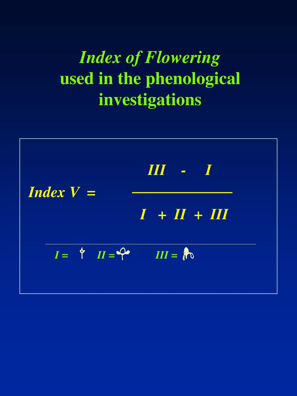 Index of Flowering