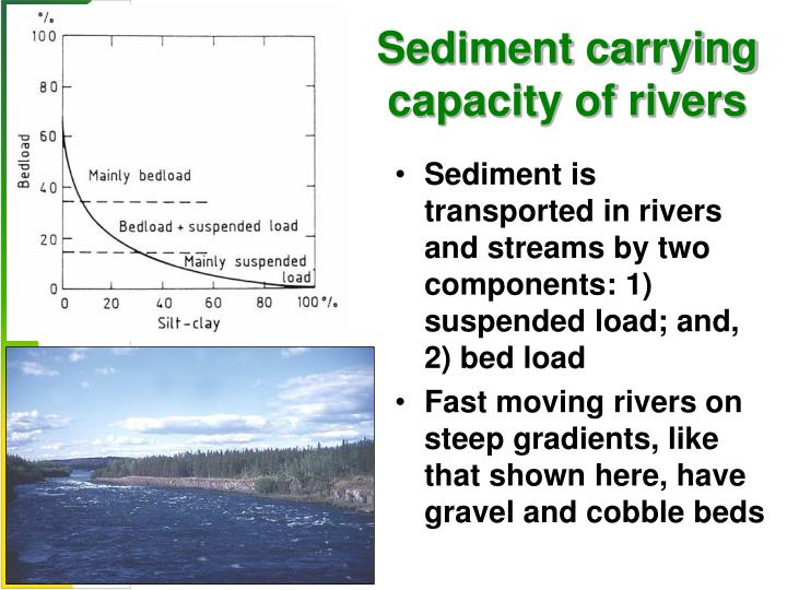 Sediment carrying capacity of rivers