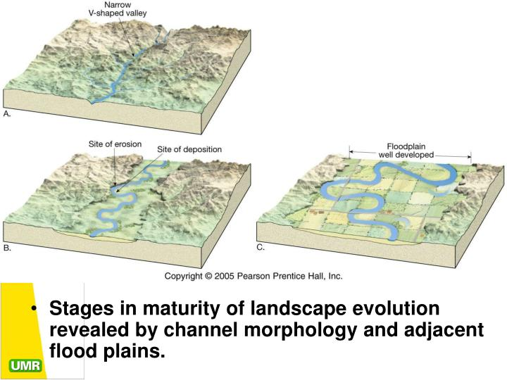 Stages in maturity of landscape evolution revealed by channel morphology and adjacent flood plains.