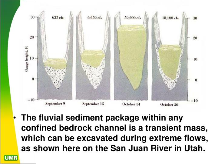 The fluvial sediment package within any confined bedrock channel is a transient mass, which can be excavated during extreme flows, as shown here on the San Juan River in Utah.