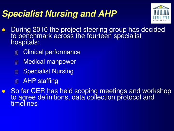 Specialist Nursing and AHP