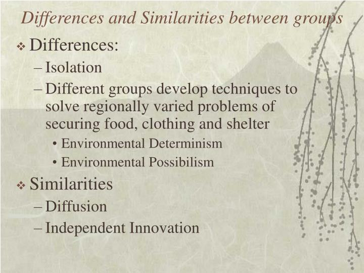 Differences and Similarities between groups