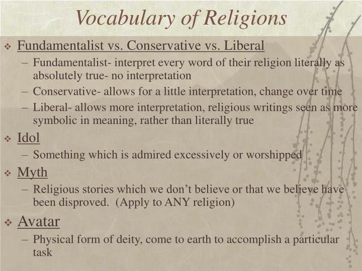 Vocabulary of Religions