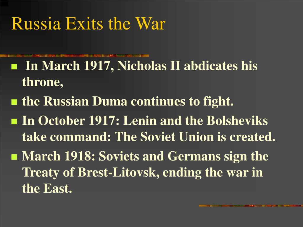 Russia Exits the War