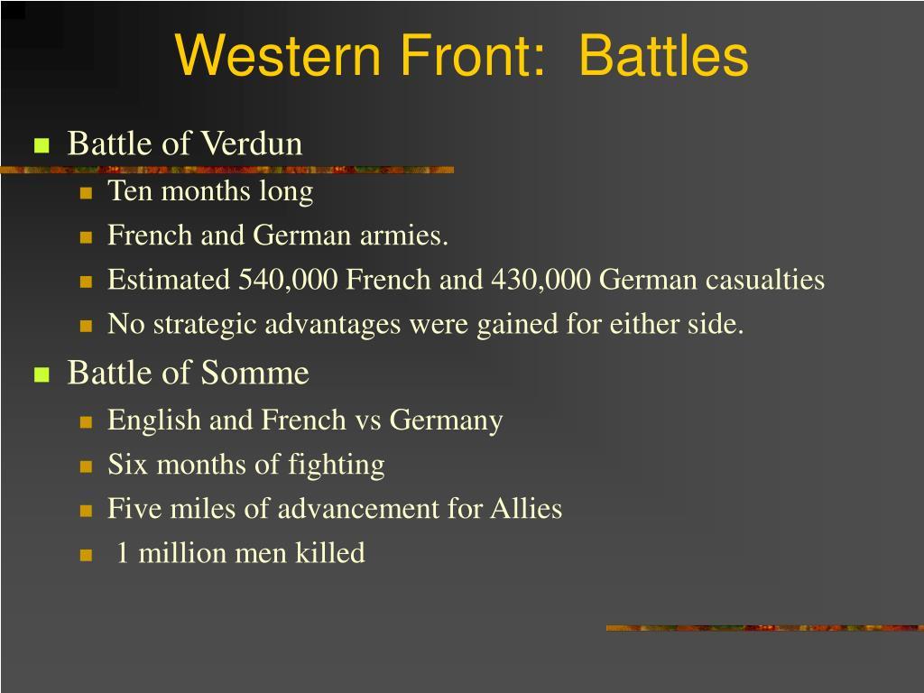 Western Front:  Battles