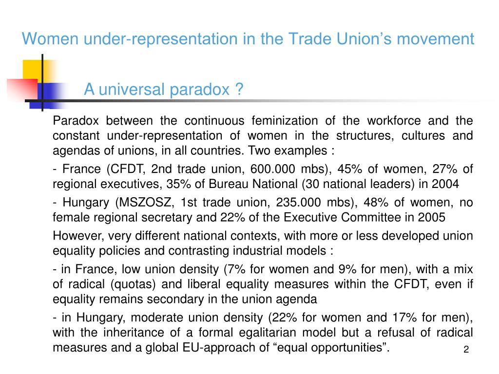 Women under-representation in the Trade Union's movement