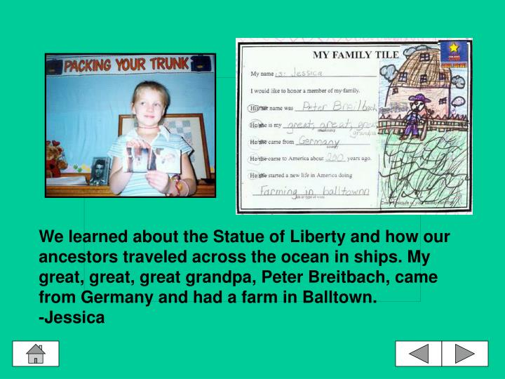 We learned about the Statue of Liberty and how our ancestors traveled across the ocean in ships. My great, great, great grandpa, Peter Breitbach, came from Germany and had a farm in Balltown.
