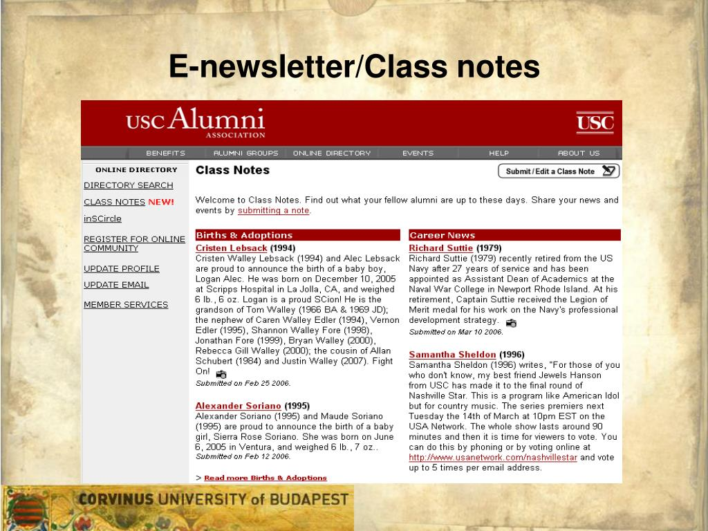 E-newsletter/Class notes