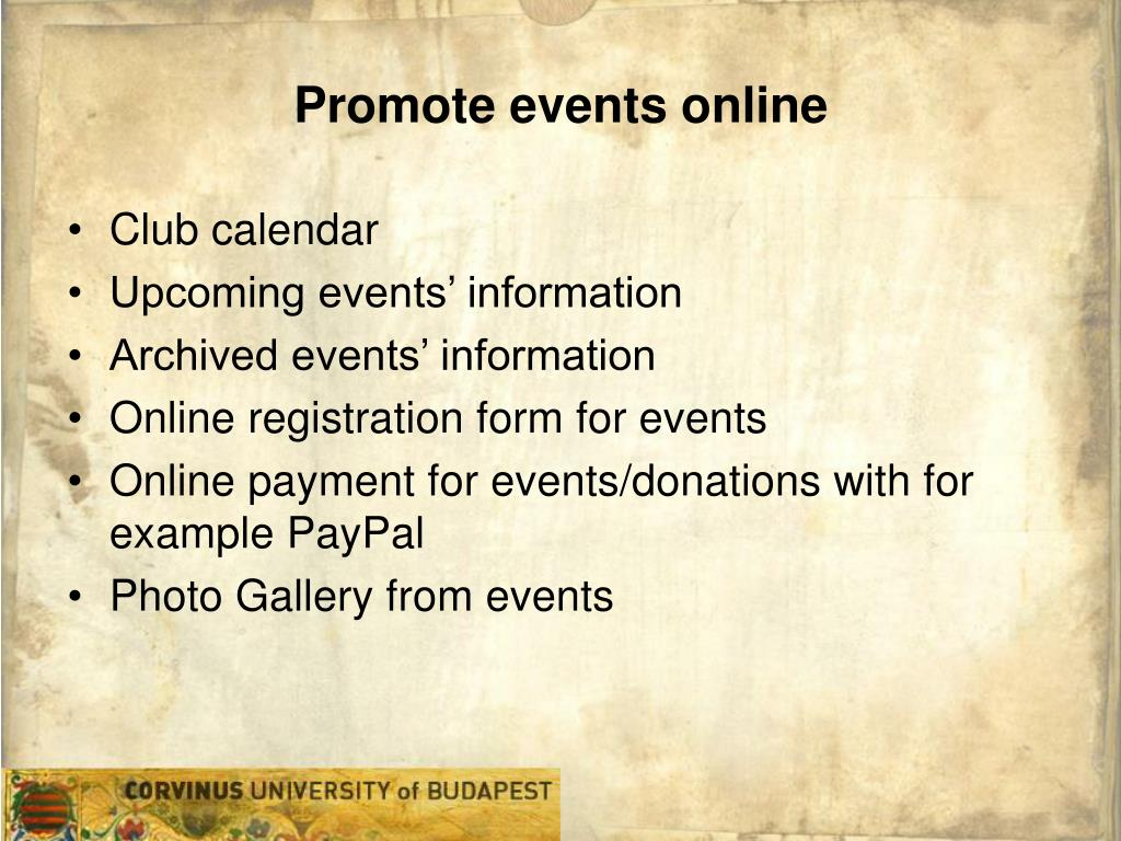 Promote events online