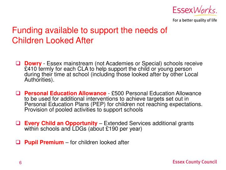 Funding available to support the needs of