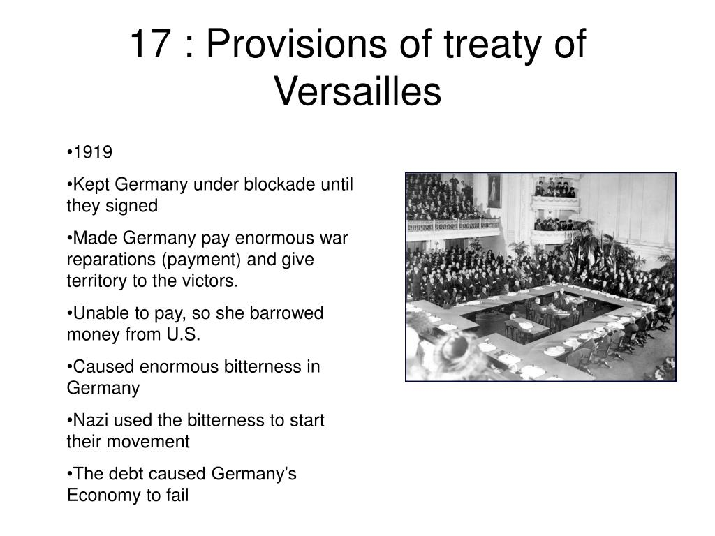 17 : Provisions of treaty of Versailles